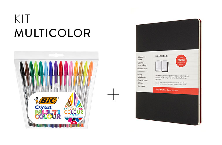 Multicolour bundle BIC et  Moleskine