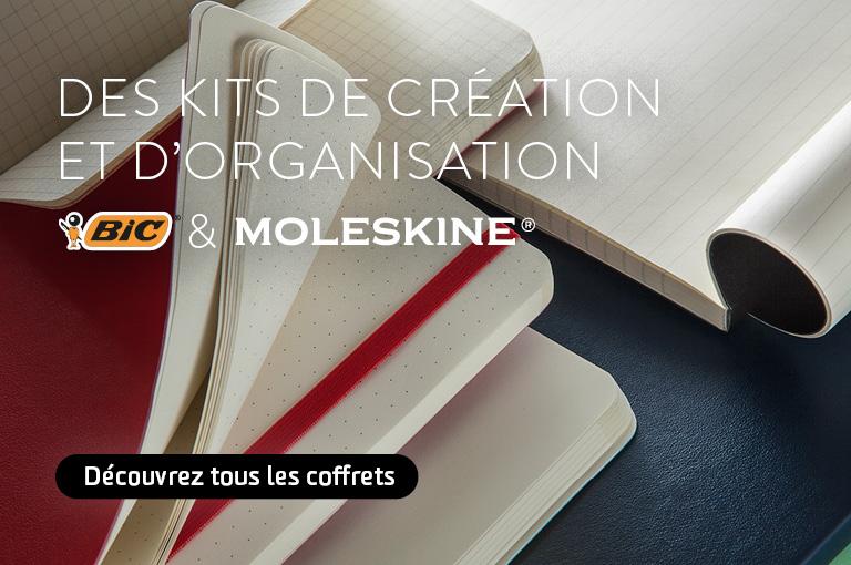 Des kits de création et d'organisation BIC et Moleskine